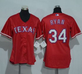 Wholesale Cheap Rangers #34 Nolan Ryan Red Women\'s Alternate Stitched MLB Jersey