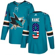 Wholesale Cheap Adidas Sharks #9 Evander Kane Teal Home Authentic USA Flag Stitched Youth NHL Jersey