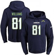Wholesale Cheap Nike Chargers #81 Mike Williams Navy Blue Name & Number Pullover NFL Hoodie