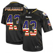 Wholesale Cheap Nike Steelers #43 Troy Polamalu Black Men's Stitched NFL Elite USA Flag Fashion Jersey