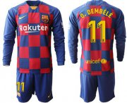 Wholesale Cheap Barcelona #11 O.Dembele Home Long Sleeves Soccer Club Jersey