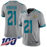 Wholesale Cheap Nike Jaguars #21 C.J. Henderson Silver Men's Stitched NFL Limited Inverted Legend 100th Season Jersey