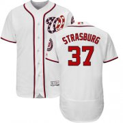 Wholesale Cheap Nationals #37 Stephen Strasburg White Flexbase Authentic Collection Stitched MLB Jersey