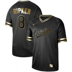 Wholesale Cheap Nike Orioles #8 Cal Ripken Black Gold Authentic Stitched MLB Jersey