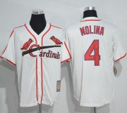 Wholesale Cheap Mitchell And Ness Cardinals #4 Yadier Molina White Throwback Stitched MLB Jersey
