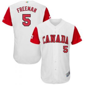 Wholesale Cheap Team Canada #5 Freddie Freeman White 2017 World MLB Classic Authentic Stitched MLB Jersey