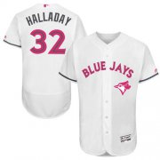 Wholesale Cheap Blue Jays #32 Roy Halladay White Flexbase Authentic Collection Mother's Day Stitched MLB Jersey