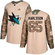 Wholesale Cheap Adidas Sharks #65 Erik Karlsson Camo Authentic 2017 Veterans Day Stitched Youth NHL Jersey