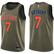 Wholesale Cheap Nike New York Knicks #7 Carmelo Anthony Green Salute to Service NBA Swingman Jersey