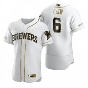 Wholesale Cheap Milwaukee Brewers #6 Lorenzo Cain White Nike Men's Authentic Golden Edition MLB Jersey
