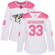 Wholesale Cheap Adidas Predators #33 Viktor Arvidsson White/Pink Authentic Fashion Women's Stitched NHL Jersey
