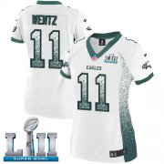 Wholesale Cheap Nike Eagles #11 Carson Wentz White Super Bowl LII Women's Stitched NFL Elite Drift Fashion Jersey