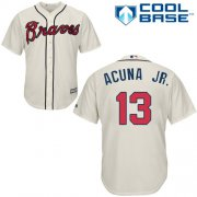 Wholesale Cheap Braves #13 Ronald Acuna Jr. Cream Cool Base Stitched Youth MLB Jersey