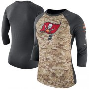 Wholesale Cheap Women's Tampa Bay Buccaneers Nike Camo Charcoal Salute to Service Legend Three-Quarter Raglan Sleeve T-Shirt
