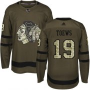 Wholesale Cheap Adidas Blackhawks #19 Jonathan Toews Green Salute to Service Stitched Youth NHL Jersey