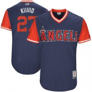"Wholesale Cheap Angels of Anaheim #27 Mike Trout Navy ""Kiiiiid"" Players Weekend Authentic Stitched MLB Jersey"