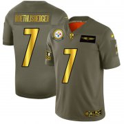 Wholesale Cheap Pittsburgh Steelers #7 Ben Roethlisberger NFL Men's Nike Olive Gold 2019 Salute to Service Limited Jersey