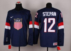 Wholesale Cheap 2014 Olympic Team USA #12 Derek Stepan Navy Blue Stitched NHL Jersey