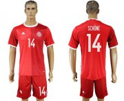 Wholesale Cheap Danmark #14 Schone Red Home Soccer Country Jersey