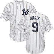 Wholesale Cheap Yankees #9 Roger Maris White Strip Team Logo Fashion Stitched MLB Jersey