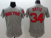 Wholesale Cheap Red Sox #34 David Ortiz Grey Flexbase Authentic Collection Stitched MLB Jersey