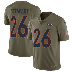 Wholesale Cheap Nike Broncos #26 Darian Stewart Olive Youth Stitched NFL Limited 2017 Salute to Service Jersey