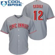 Wholesale Cheap Reds #12 Curt Casali Grey New Cool Base Stitched Youth MLB Jersey