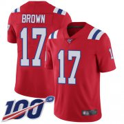 Wholesale Cheap Nike Patriots #17 Antonio Brown Red Alternate Men's Stitched NFL 100th Season Vapor Limited Jersey