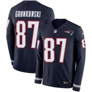Wholesale Cheap Nike Patriots #87 Rob Gronkowski Navy Blue Team Color Men's Stitched NFL Limited Therma Long Sleeve Jersey