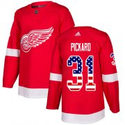 Wholesale Cheap Adidas Red Wings #31 Calvin Pickard Red Home Authentic USA Flag Stitched NHL Jersey