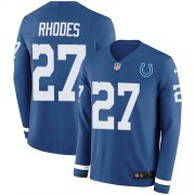 Wholesale Cheap Nike Colts #27 Xavier Rhodes Royal Blue Team Color Youth Stitched NFL Limited Therma Long Sleeve Jersey