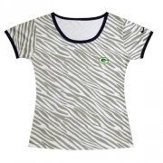 Wholesale Cheap Women's Nike Green Bay Packers Chest Embroidered Logo Zebra Stripes T-Shirt
