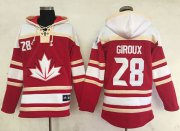 Wholesale Cheap Team CA. #28 Claude Giroux Red Sawyer Hooded Sweatshirt 2016 World Cup Stitched NHL Jersey