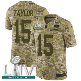 Wholesale Cheap Nike 49ers #15 Trent Taylor Camo Super Bowl LIV 2020 Men\'s Stitched NFL Limited 2018 Salute To Service Jersey