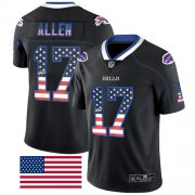 Wholesale Cheap Nike Bills #17 Josh Allen Black Men's Stitched NFL Limited Rush USA Flag Jersey