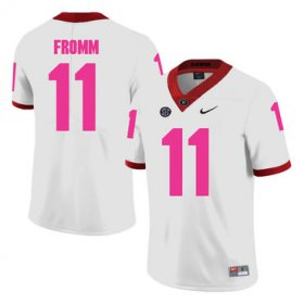 Wholesale Cheap Georgia Bulldogs 11 Jake Fromm White Breast Cancer Awareness College Football Jersey