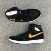 Wholesale Cheap Air Jordan 1 GS Retro Shoes Black/Gold-White