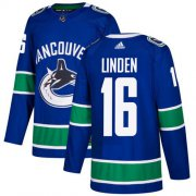Wholesale Cheap Adidas Canucks #16 Trevor Linden Blue Home Authentic Youth Stitched NHL Jersey