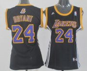Wholesale Cheap Los Angeles Lakers #24 Kobe Bryant Black With Purple Womens Jersey
