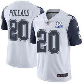 Wholesale Cheap Nike Cowboys #20 Tony Pollard White Men\'s Stitched With Established In 1960 Patch NFL Limited Rush Jersey