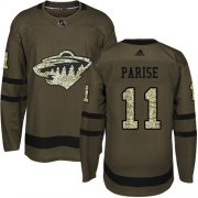 Wholesale Cheap Adidas Wild #11 Zach Parise Green Salute to Service Stitched Youth NHL Jersey