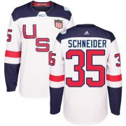 Wholesale Cheap Team USA #35 Cory Schneider White 2016 World Cup Stitched Youth NHL Jersey