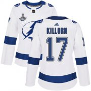 Cheap Adidas Lightning #17 Alex Killorn White Road Authentic Women's 2020 Stanley Cup Champions Stitched NHL Jersey