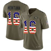 Wholesale Cheap Nike 49ers #16 Joe Montana Olive/USA Flag Men's Stitched NFL Limited 2017 Salute To Service Jersey