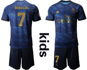 Wholesale Cheap Real Madrid #7 Ronaldo Away Kid Soccer Club Jersey