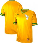 Wholesale Cheap Nike Athletics Blank Yellow Authentic Cooperstown Collection Stitched MLB Jersey