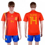 Wholesale Cheap Spain #14 Alonso Home Soccer Country Jersey