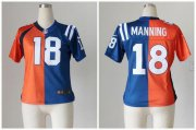 Wholesale Cheap Nike Broncos #18 Peyton Manning Orange/Blue Women's Stitched NFL Elite Split Colts Jersey
