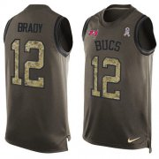 Wholesale Cheap Nike Buccaneers #12 Tom Brady Green Men's Stitched NFL Limited Salute To Service Tank Top Jersey