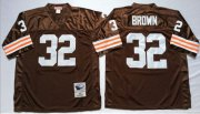 Wholesale Cheap Mitchell And Ness 1963 Browns #32 Jim Brown Brown Throwback Stitched NFL Jersey